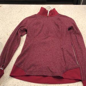 Red workout sweater. Half zip.